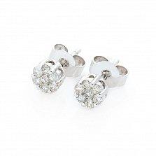 Серьги-пуссеты из белого золота Лила с бриллиантами