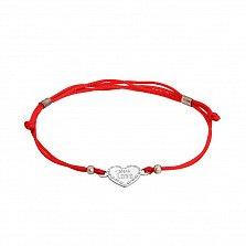 Шелковый браслет со вставкой With love с узором