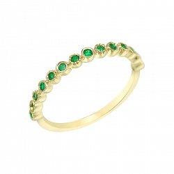 Кольцо из желтого золота с изумрудами 000114579