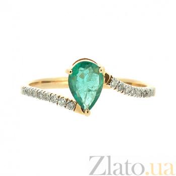 Золотое кольцо в красном цвете с изумрудом и бриллиантами Изабель ZMX--RE-6692_K