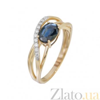 Золотое кольцо в красном цвете с сапфиром и бриллиантами Мечтательница 000032310