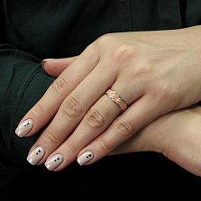 Серебряное кольцо с позолотой Долгожданное счастье с косой насечкой