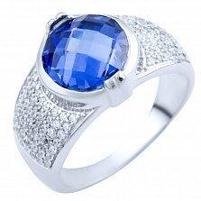 Серебряное кольцо Раджни с синтезированным танзанитом и фианитами