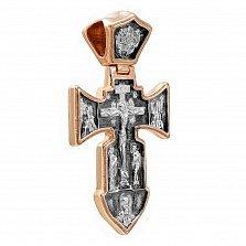 Золотой крест из красного золота с чернением Ангел Хранитель