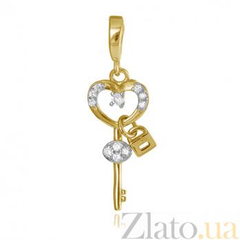 Серебряный подвес-ключ Любовная тайна в позолоте с фианитами 000028693
