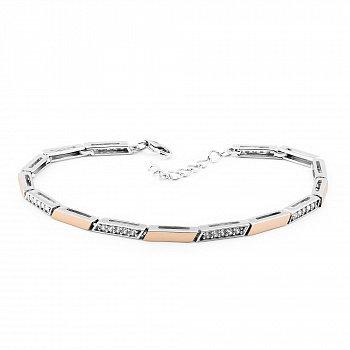 Серебряный браслет с фианитами и золотыми накладками 000149491
