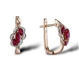 Серьги из красного золота Жизель с бриллиантами и рубинами