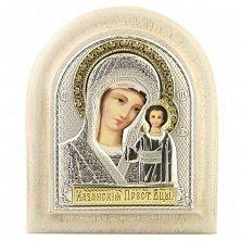 Икона на деревянной основе Казанская с позолотой и эмалью микс, 11х13