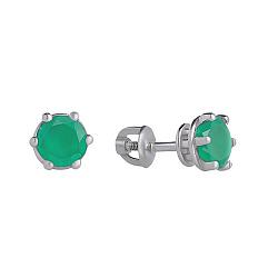 Серебряные серьги-пуссеты Лея с зеленым агатом, 7мм