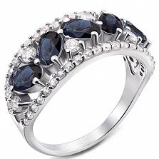 Серебряное кольцо Роскошь с сапфирами