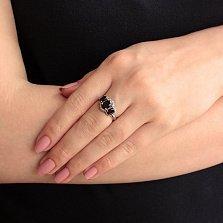 Серебряное кольцо с гранатами и фианитами Аврора