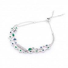 Серебряный браслет Гретэль с зелеными, синими и белыми фианитами