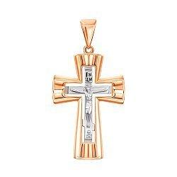Золотой крестик в комбинированном цвете 000139284
