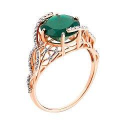 Золотое кольцо  в комбинированном цвете с зеленым агатом и дорожками фианитов 000122212