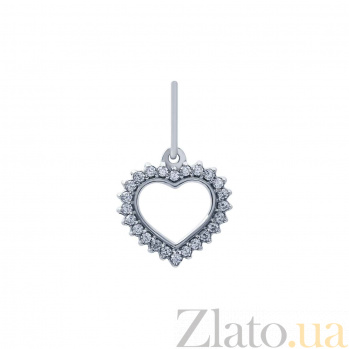 Серебряный кулон с фианитами Сердце  AQA-ПП-112