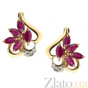 Серьги из красного золота с рубинами и бриллиантами Эмма ZMX--ER-5005_K