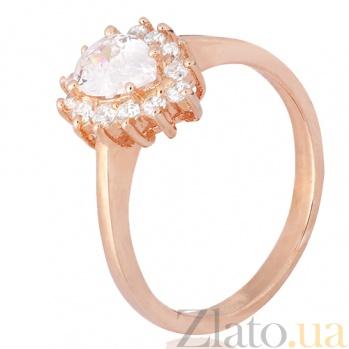 Позолоченное серебряное кольцо Шанталь с фианитами 000028404