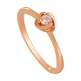 Золотое кольцо с фианитом Дама сердца