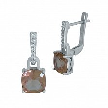 Серебряные серьги-подвески Наджия с корундом и фианитами
