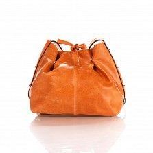 Кожаный клатч-мешок Genuine Leather 1678 цвета бархатный красно-рыжий с плечевым ремнем