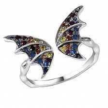 Кольцо Сказочная бабочка из белого золота с разомкнутой шинкой, сапфирами, рубинами и бриллиантами