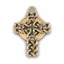 Золотой кельтский крест Плетёный с бриллиантами и синтезированным изумрудом
