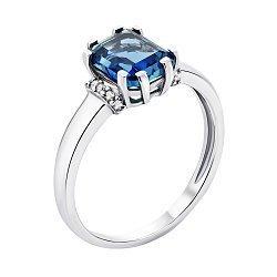 Серебряное кольцо с танзанитом и фианитами 000139150