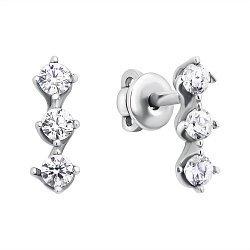 Серебряные серьги-пуссеты с фианитами 000118030