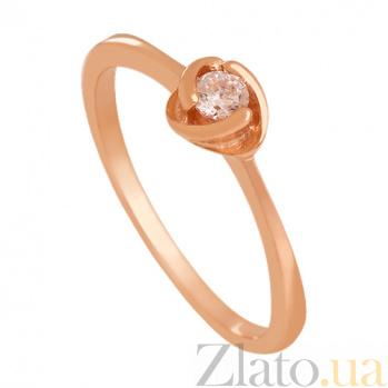 Золотое кольцо с фианитом Дама сердца 000024354