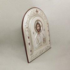 Православная икона Иисус Спаситель на основе под дерево, гальванопластика, 16,7х22,4см