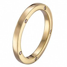 Обручальное кольцо Мир в желтом золоте с фианитами