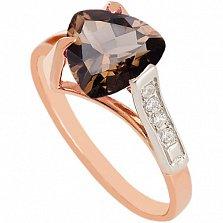 Золотое кольцо с раухтопазом и фианитами Ингеборга