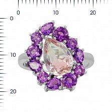 Серебряное кольцо Инесса с аметистами и фиолетовым алпанитом