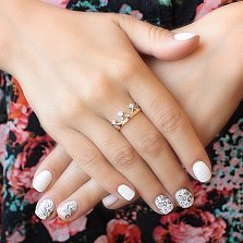 Серебряное кольцо с золотой вставкой и фианитами Арвен