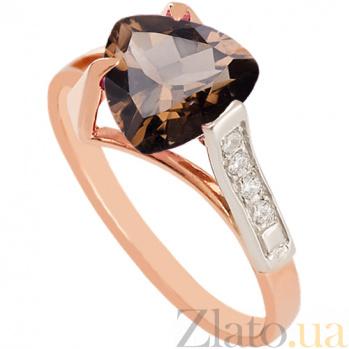 Золотое кольцо с раухтопазом и фианитами Ингеборга 000024443