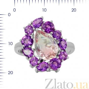 Серебряное кольцо Инесса с аметистами и фиолетовым алпанитом 000081585
