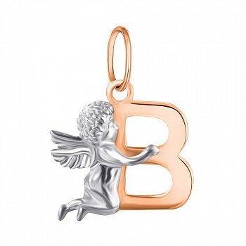 Підвіска зі срібла Янголятко з буквою В з позолотою 000070840