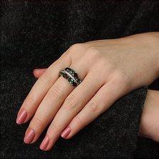 Серебряное кольцо Альента с гранатом, зеленым кварцем и цирконием