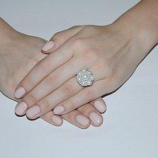 Серебряное кольцо с жемчугом и фианитами Омела