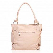 Кожаная сумка на каждый день Genuine Leather 8954 розового цвета с декоративной кистью на цепочке