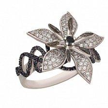 Кольцо из белого золота с белыми и черными цирконами Королевская орхидея