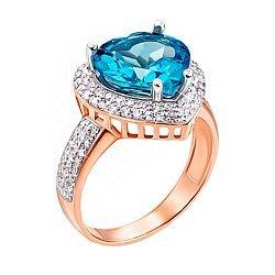 Кольцо в комбинированном цвете золота с голубым топазом, фианитами и родированием 000131334