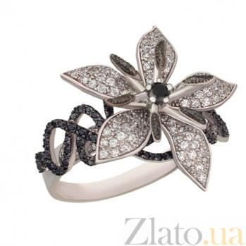 Кольцо из белого золота с белыми и черными цирконами Королевская орхидея VLT--ТТ185