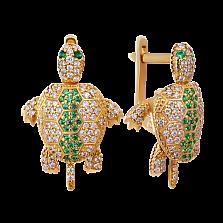 Золотые серьги Черепашки с топазами и изумрудами