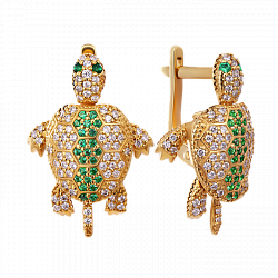 Золотые серьги Черепашки с топазами и изумрудами 000049919