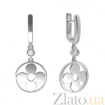 Серебряные серьги-подвески Очарование с завальцованным цирконием в стиле Луи Виттон 000080434