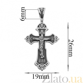 Крестик из серебра с чернением Победитель HUF--3480-Ч
