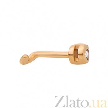 Золотая сережка-пирсинг с фианитом Имидж TNG--560034
