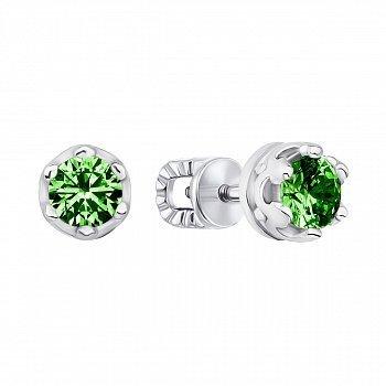 Серебряные серьги-пуссеты с зеленым кварцем 000123414
