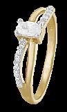 Позолоченное кольцо из серебра с фианитами Лалит